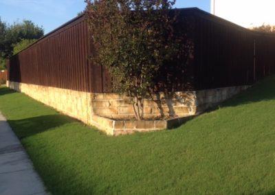 Cedar Privacy Fence on Brick Wall