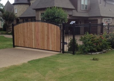 Driveway Gate with Cedar and Wrought Iron